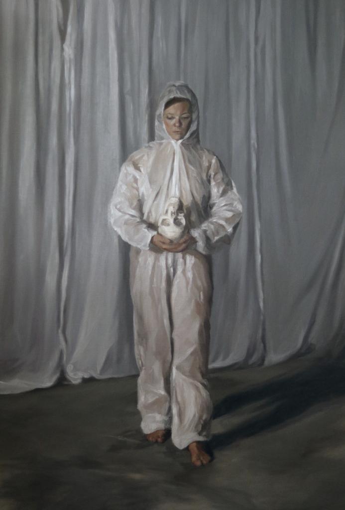 Eve Malherbe, Jeune-femme-en-blouse-de-peinturereprenant-la-pose-de-Saint-Franois-d-Assise-mditant--89x130cm--2018